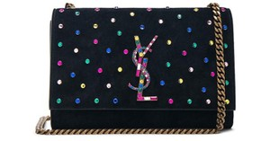 8d8a8151bb39 Added to Shopping Bag. Saint Laurent Cross Body Bag. Saint Laurent Monogram Kate  Small Crystal Embellished Monogramme Chain Black ...