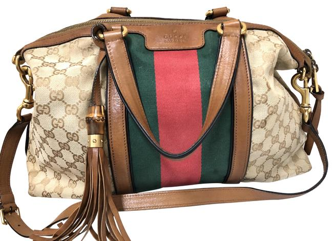 Item - Rania Multicolored Leather and Canvas Satchel