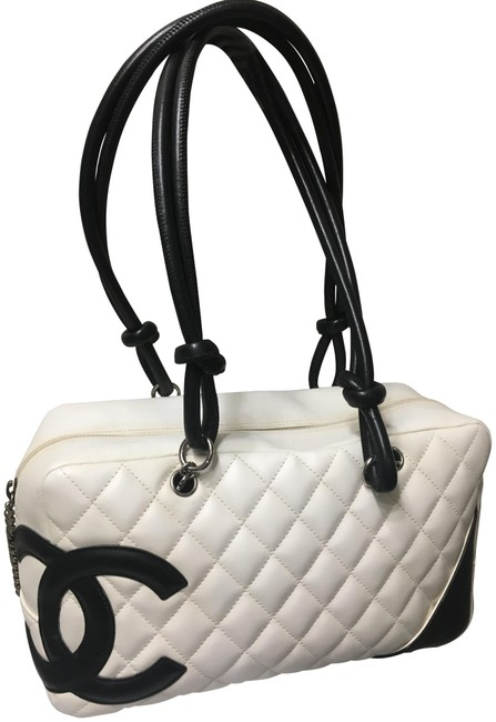 Item - Cambon Quilted White/Black Lambskin Leather Shoulder Bag