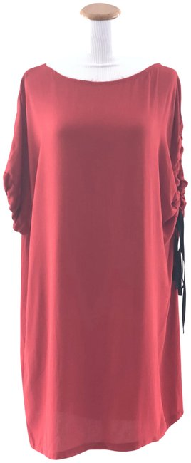 Item - Red L Asymmetric Sleeve Shift Mid-length Short Casual Dress Size 4 (S)