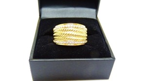 David Yurman Gold 18k Cable Signature Diamond 0.86 Ring
