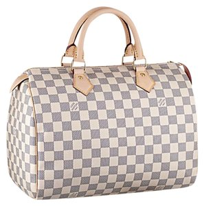 Louis Vuitton Monogram Luxury Leather Limited Edition Speedy Satchel in white