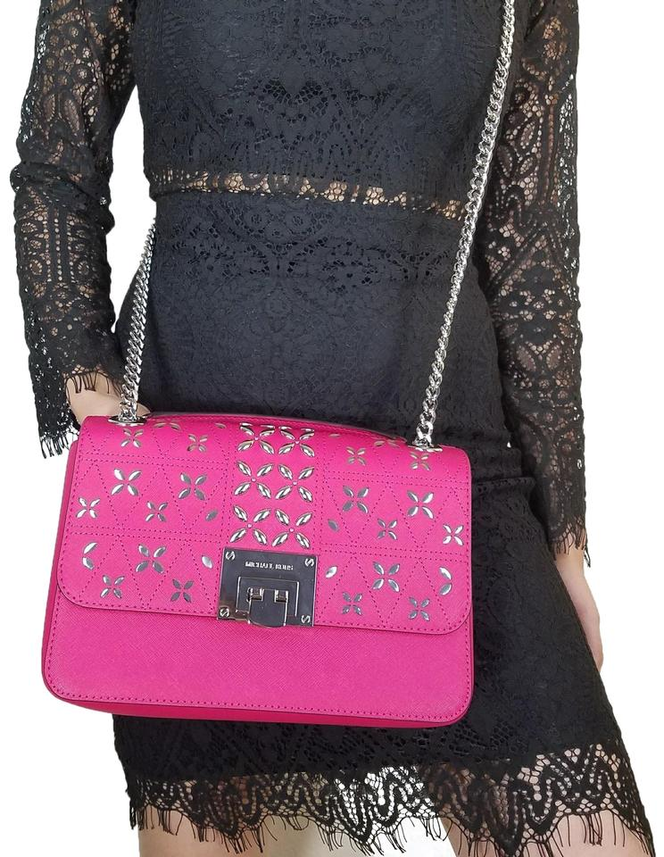 enjoy bottom price for whole family select for original Michael Kors Crossbody Flap Mk Studded Leather Medium Handbag Electric Pink  Shoulder Bag 42% off retail