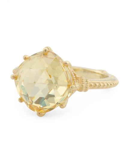 Judith Ripka JUDITH RIPKA 14k Gold Plated Sterling Silver Canary Crystal Ring Image 1