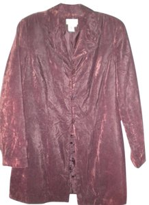 Coldwater Creek Duster Crushed Velvet Toggle Button Front Burgundy Blazer