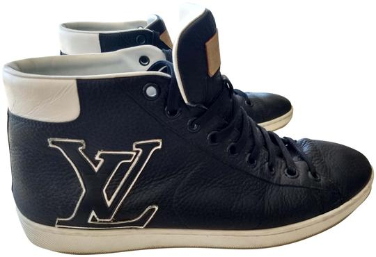Louis Vuitton Navy Blue White Logo Mens With Lv Leather