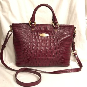 Brahmin Purse Handbag Cross Body Shoulder Tote Satchel in Purple Red