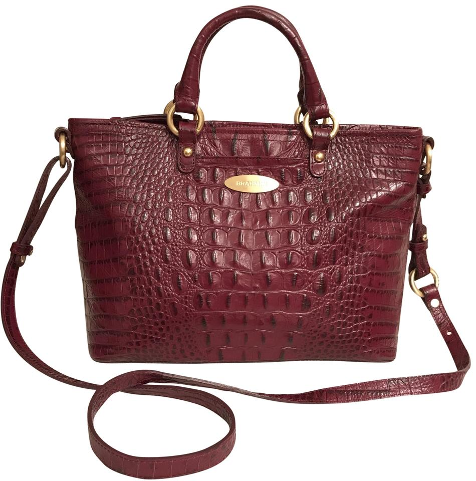 a48b352414e2 Brahmin Anywhere Convertible Croc Embossed Purple Red Leather Satchel