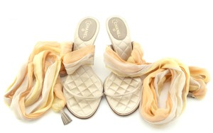 Chanel Cc Logo Scarf Ankle Strap Heels Champagne Gray Sandals