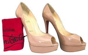 Christian Louboutin Patent Leather Lady Peep Beige Pumps
