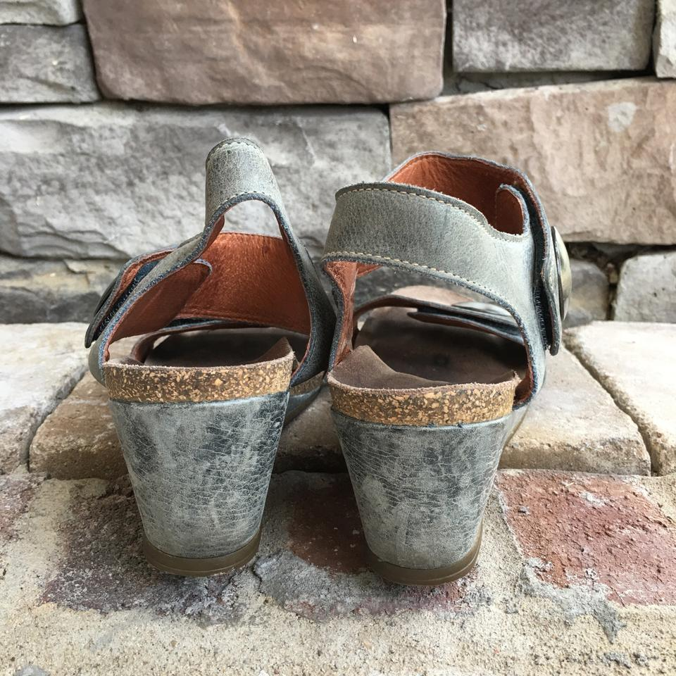 2d22c0890 Taos Footwear Blue Gray Carousel 2 Leather In - Sandals Size EU 39 (Approx.  US 9) Regular (M