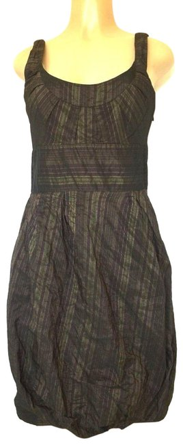Item - Green Collection Striped Ruched Hem Mini Purple Short Casual Dress Size 6 (S)