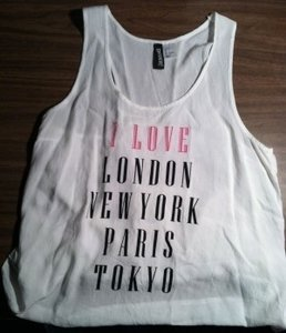 Divided by H&M London New York Paris Tokyo Love Top White