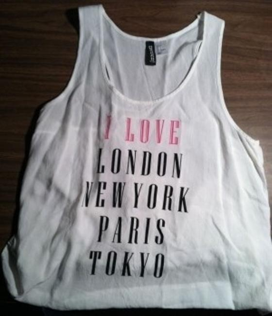 Preload https://item2.tradesy.com/images/divided-by-h-and-m-white-london-new-york-paris-tokyo-love-tank-topcami-size-4-s-23556-0-0.jpg?width=400&height=650