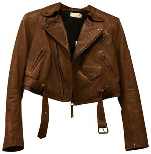 Faith Connexion Distressed brown Leather Jacket