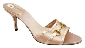 Gucci Metallic Rose Horsebit Studded Open Toe Slide Heels Pink Sandals