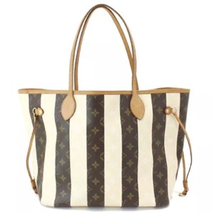 Louis Vuitton Artsy Ebene Azur Speedy Damier Tote in Monogram Striped Creme and Brown