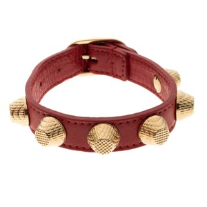 Balenciaga Red Giant Leather Gold Tone Studded Bracelet