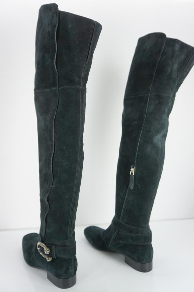 a51d8a7b2 Gucci Black Dionysus Suede Leather Snake Buckle Over The Knee Boots ...