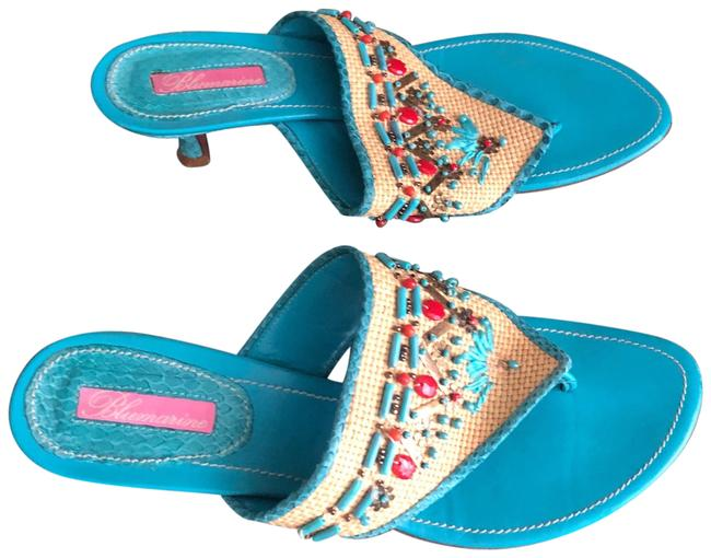 Item - Turquoise/Red W Leather W/Python Beaded Slides Sandals Size US 8.5 Regular (M, B)