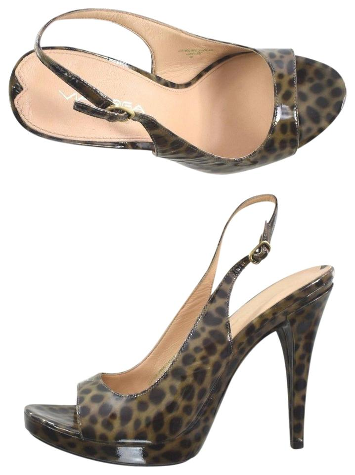 8a5fedf615d3 Via Spiga Moss Leopard Womens Patent Leather Heels Sandals Pumps ...