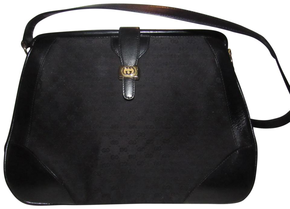 49a043094ada Gucci Doctor s Mint Vintage Hinged Top Opening Rare Early Satchel in black  small G logo print ...