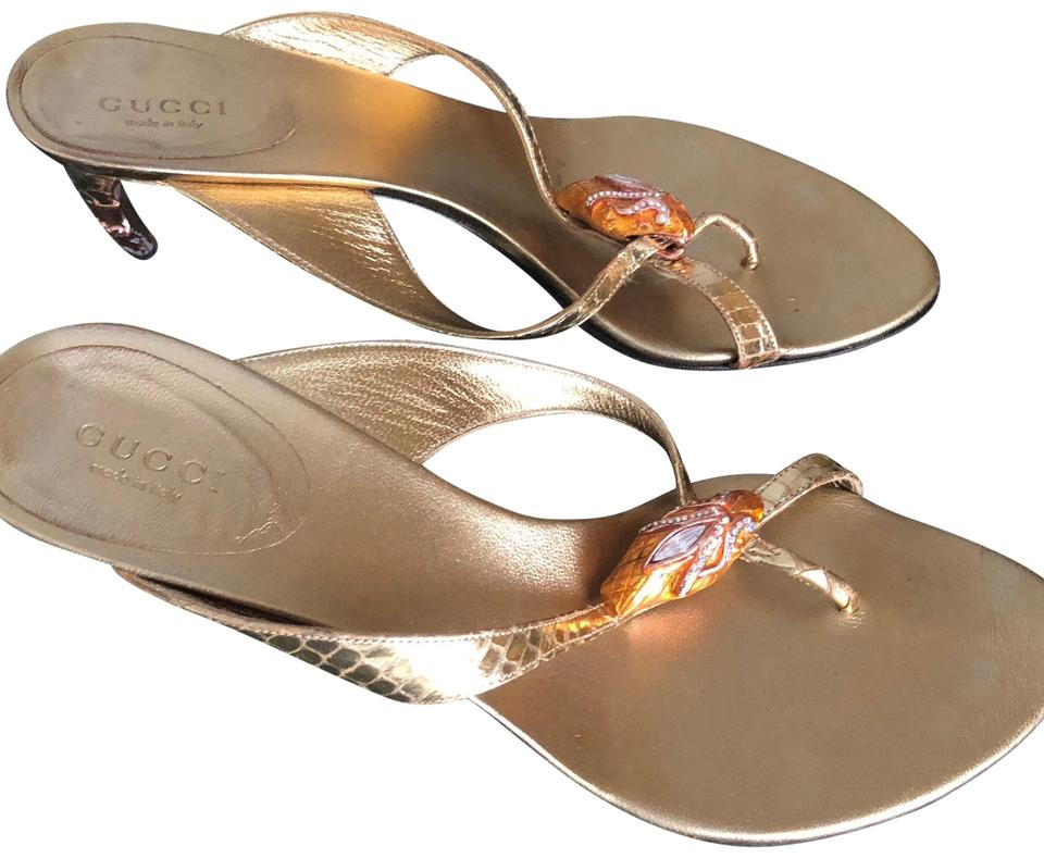 Gucci Gold Leather Snake Slides Sandals Size US 8 Regular ...