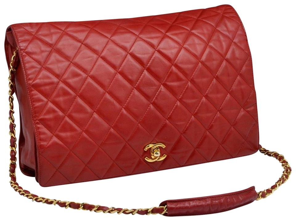 11d6a11ad376 Chanel Classic Flap Super Rare Vintage Jumbo Red Lambskin Leather ...