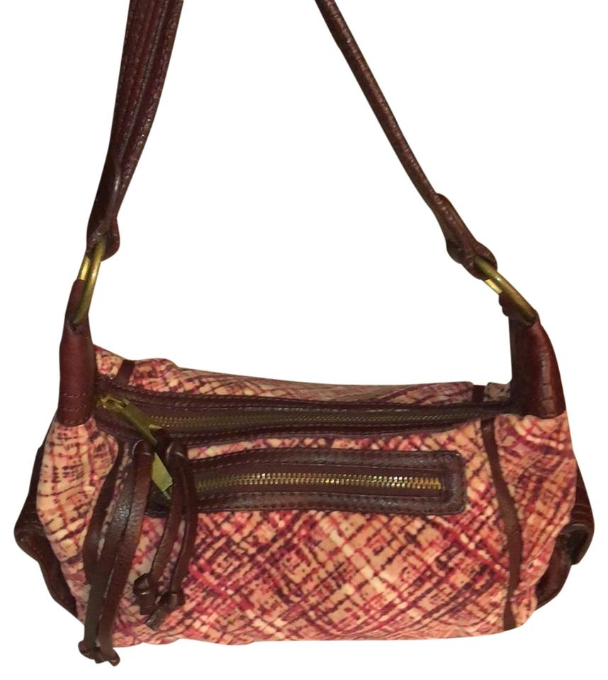 Banana Republic Soft Cloth Trimmed Hobo Maroon Cotton   Leather ... 05abed508fb15