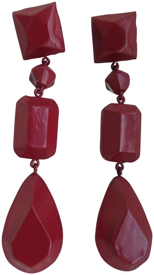 a60cda9428ddd Céline Burgundy Painted Plexi Resin Brass Chandelier Drop Earrings
