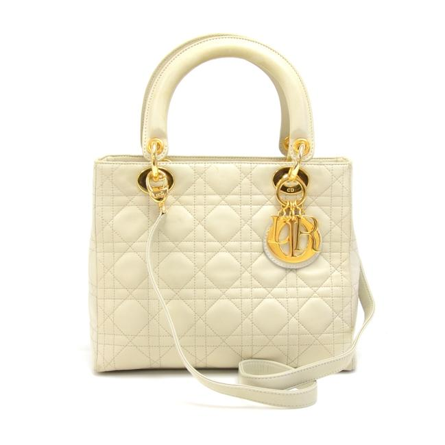 Item - Lady Christian Off-white Cannage Quilted Handbag White Lambskin Leather Shoulder Bag