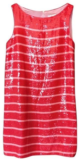 Item - Red Pink Sleeveless Sequin Stripe Mid-length Cocktail Dress Size 10 (M)