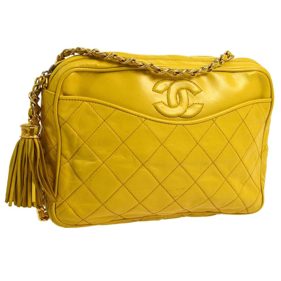 0296d8113f1dbd Chanel Camera Fringe Tassel Quilted Cc Yellow Leather Cross Body Bag ...