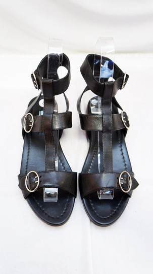 Prada Leather Gladiator Strappy Triple Buckle Flat Black Sandals