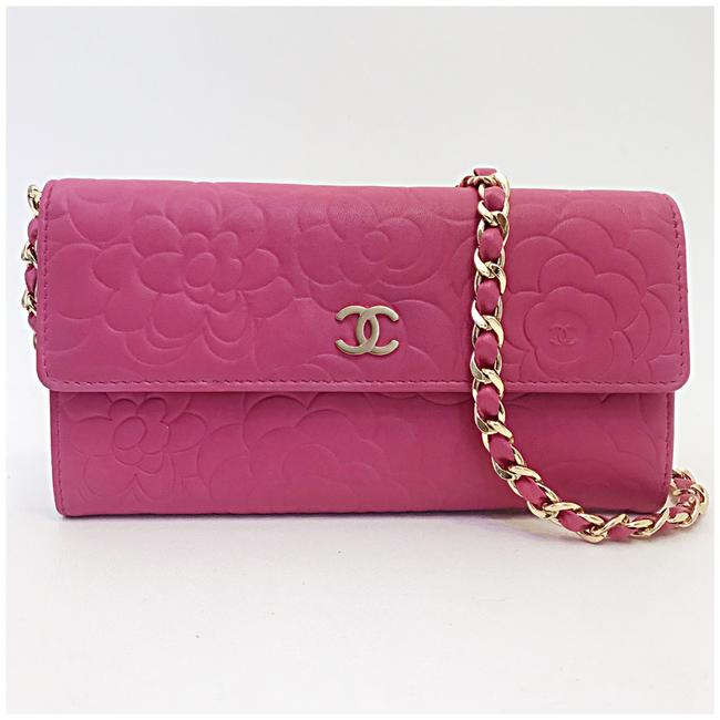 Item - Classic Flap Camellia Wallet with Chain Added Pink Lambskin Leather Clutch
