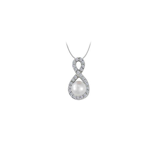 Preload https://img-static.tradesy.com/item/23557754/white-freshwater-pearl-and-cubic-zirconia-infinity-pendant-in-14k-necklace-0-0-540-540.jpg