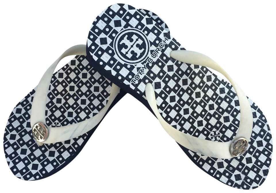 06a29a190 Tory Burch Navy New Thandie Flip Flop Sandals Isidro Wedges Size US ...