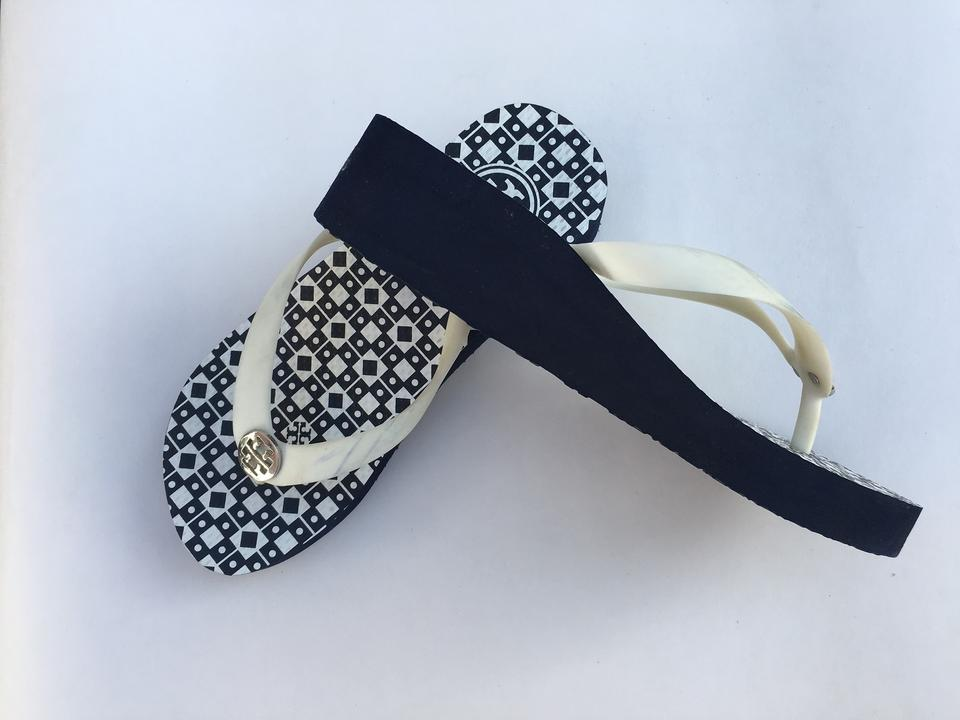 a9f015f4a Tory Burch Navy New Thandie Flip Flop Sandals Isidro Wedges Size US ...