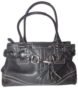Coach Mint Condition Two Strap Hampton Style Braid /Tassel Accent Satchel in black pebbled leather with white contrast stitching and chrome hardware