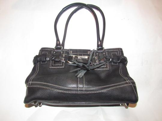Coach Mint Condition Two Strap Hampton Style Braid /Tassel Accent Satchel in black pebbled leather with white contrast stitching and chrome hardware Image 5