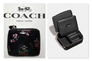 Coach COACH TRAVEL JEWELRY BOX BLACK PATENT LEATHER CROSSSTITCH FLORAL~25794