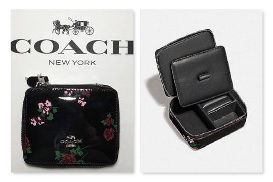 Coach COACH TRAVEL JEWELRY BOX BLACK PATENT LEATHER CROSSSTITCH FLORAL~25794 Image 0
