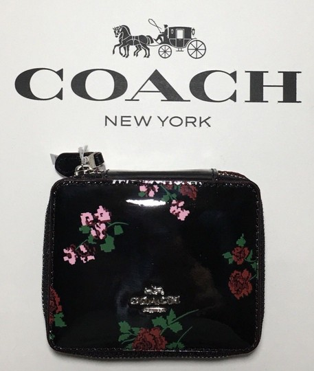 Coach COACH TRAVEL JEWELRY BOX BLACK PATENT LEATHER CROSSSTITCH FLORAL~25794 Image 1