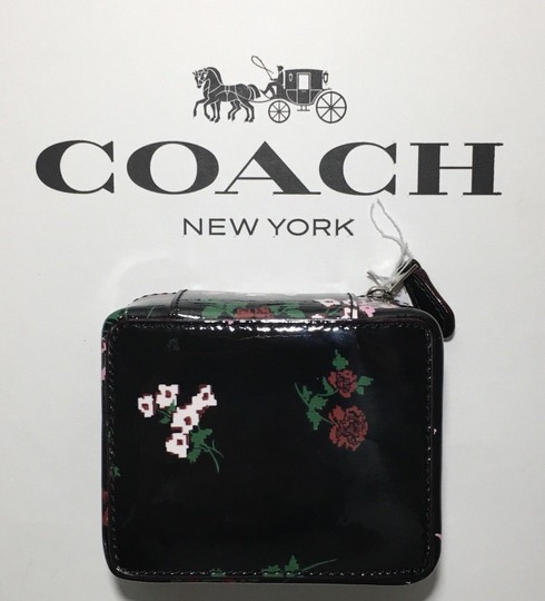 Coach COACH TRAVEL JEWELRY BOX BLACK PATENT LEATHER CROSSSTITCH FLORAL~25794 Image 3