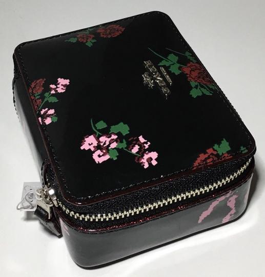 Coach COACH TRAVEL JEWELRY BOX BLACK PATENT LEATHER CROSSSTITCH FLORAL~25794 Image 4