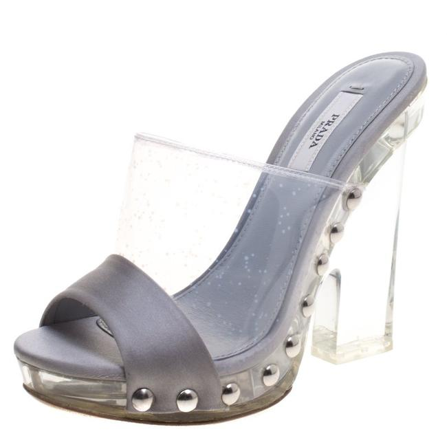 Item - Grey Satin and Crystal Pvc Lucite Studded Platform Slides Sandals Size EU 35 (Approx. US 5) Regular (M, B)