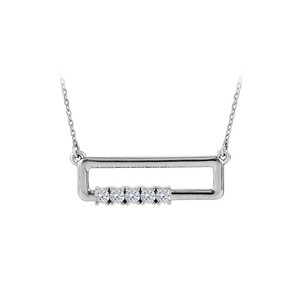 Marco B 4 Stone CZ Rectangle Necklace For Mother 14K White Gold