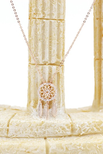 Ocean Fashion 925 Rose gold Fashion Dreamcatcher Crystal Necklace Image 2
