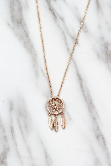 Ocean Fashion 925 Rose gold Fashion Dreamcatcher Crystal Necklace Image 3