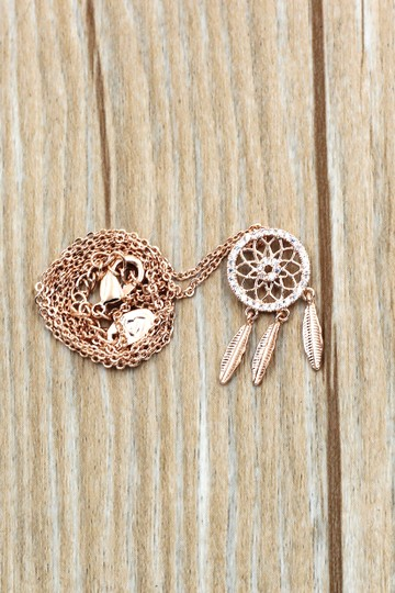 Ocean Fashion 925 Rose gold Fashion Dreamcatcher Crystal Necklace Image 5